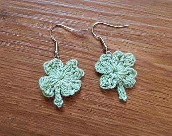 Crochet lucky Irish shamrock earrings