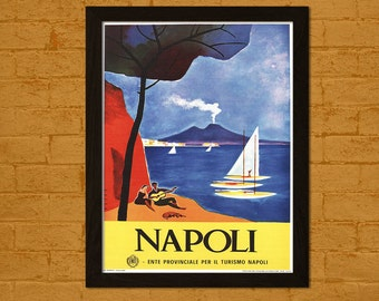 Italy Travel Print - Italy Poster Travel Wall Art Napoli Poster Home Travel Decor Hostel Decor Italian Print
