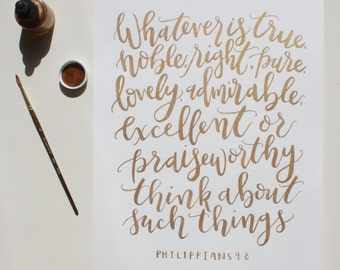 CUSTOM Hand-Lettered Gold Ink