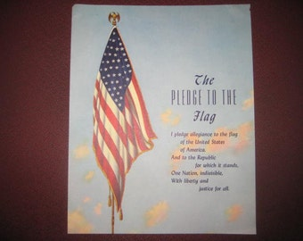 Pledge to the American Flag Calendar Top Print, 1940s