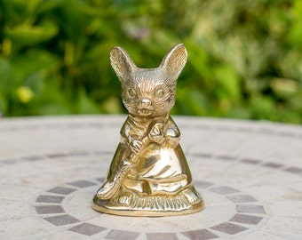 Brass Mouse Figurine Holding a Broom