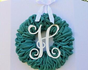 Burlap monogram wreath, Monogram burlap wreath, Burlap wreath, Monogram wreath, Teal burlap wreath, Burlap door wreath, Burlap door decor