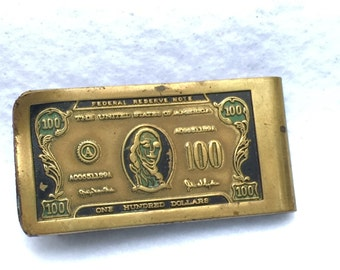 Vintage 100 Dollar Bill Money Clip 1957