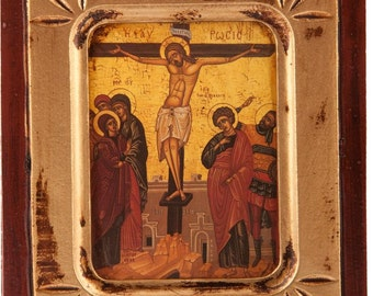 Wooden Icon of the Crucifixion of Jesus Christ