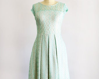 GOSSAMER | Mint green lace bridesmaid dress cap sleeves, knee length full pleated skirt. romantic, vintage inspired soft mint lace