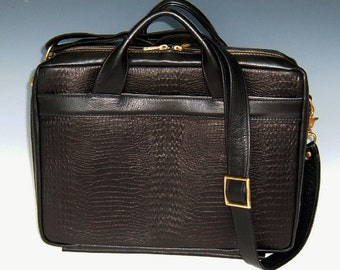 Laptop Briefcase - dark brown w/ dark brown lizard accent