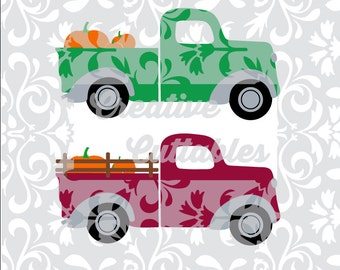 SVG Pumpkin Harvest Fall Truck for  Silhouette or other craft cutters (.svg/.dxf/.eps)