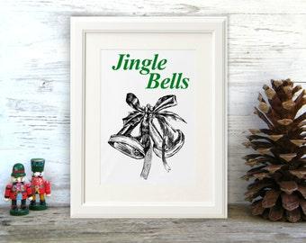 Printable Christmas decor, Jingle bells print, Black and white Christmas gift, Merry Christmas, Printable Christmas decor, Christmas signage