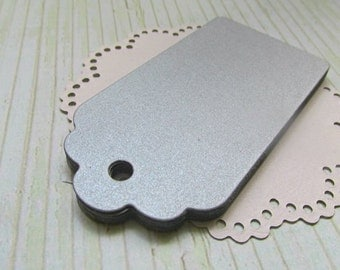 25 Gift Paper Tags Shimmer Silver/ Wedding Tags/ Blank Tags  (hang tags)/ Favor Tags/ Bridal Shower Tags/ Price Tags
