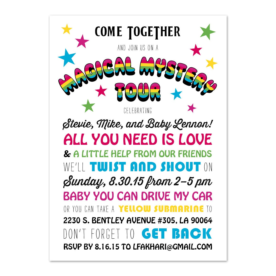 Gmail themes beatles - Beatles Theme Baby Shower Invite Zoom