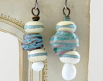 Asymmetrical Earrings - Aqua Earrings -Dangle Earrings - Artisan  Earrings - Lampwork  Earrings - Art Jewelry - Unique Jewelry