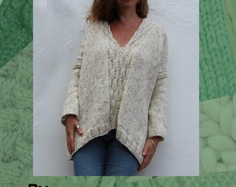 Cable Smock Sweater Hand Knitting Pattern