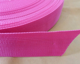 5 Yards, 1.5 inch (3.8 cm.), Polypropylene Webbing, Hot Pink Color, Key Fobs, Bag Straps, Purses Straps, Belts, Tote Bag Handle