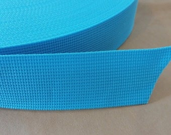 5 Yards, 1.5 inch (3.8 cm.), Polypropylene Webbing , Light Blue, Key Fobs, Bag Straps, Purses Straps, Belts, Tote Bag Handle