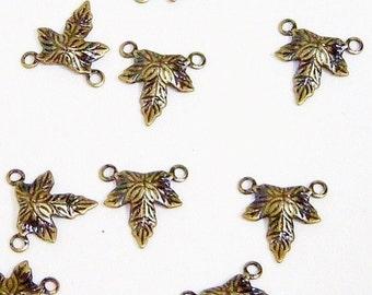 Maple Leaf Charm,  Antiqued Brass Charm, 10x10mm, 20 each, D110