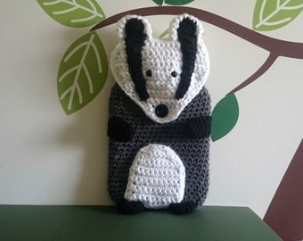 New Hot water bottle and handmade soft badger cover