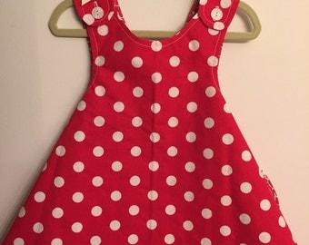 LET'S POLKA dress- Retro REVERSIBLE toddler pinafore- 12-24 months