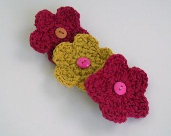 Crochet hair flower clip