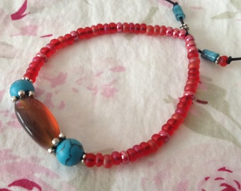 Simple Vintage Amber Glass and Turquoise Bead Stretch Bracelet