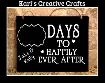 Wedding Countdown Chalk Board, Happily Ever After Count Down Board, Wedding, Mr and Mrs Hanging Chalkboard,  Countdown sign, Engagement