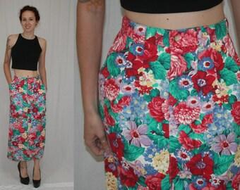 Vintage 80s Bright Floral High Waist Slim Pencil Maxi Boho Skirt S M