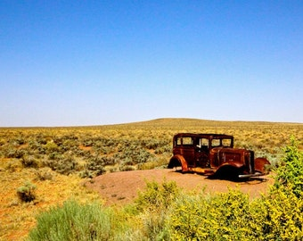 Landscape photography, old car, wall art, desert photography, New Mexico photography