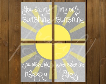 Printable Wall Art - You Are My Sunshine 4 Piece Set (8x10)