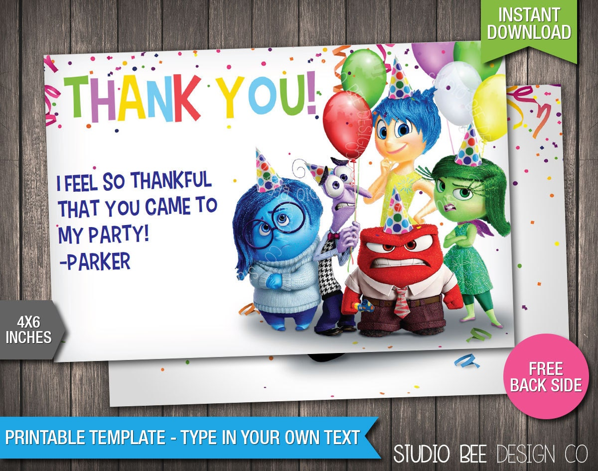 Inside Out Thank You Card INSTANT DOWNLOAD Printable - Birthday invitations inside out