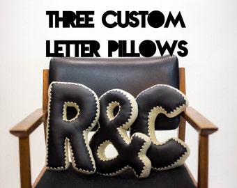 Alphabet Letter Pillow, Crochet Edging & Faux Leather, THREE Made To Order