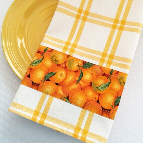 Yellow And Orange Kitchen: Yellow Dish Towel Fruit Kitchen Decor Orange Citrus Fruit