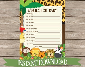 Wishes for Baby Safari Baby Shower Activity Card- Jungle Animals, Zoo Animals, Monkey, Giraffe Cute Activity Neutral Printable Download B132