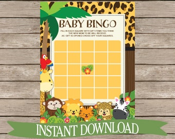 Safari Bingo Baby Shower Game? - Jungle Animals, Zoo Animals, Monkey, Giraffe Cute Activity, Neutral Printable Download B132
