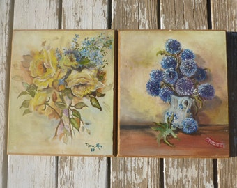 Pair of oil paintings on wood