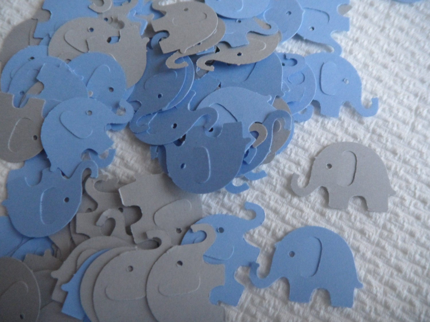 Light Blue and Grey Elephant Confetti Baby Shower Confetti