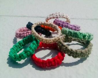 Hemp Ring, Choose Your Color, Simple Macrame