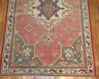 Antique Turkish Oushak Rug Size 3'10''x5'11''