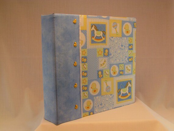 12x12 Postbound Fabric Scrapbook Photo Album Memory Book Baby Boy Shower Light Blue Rocking Horse Rattle Rubber Duckie AO1 Album Outfitters
