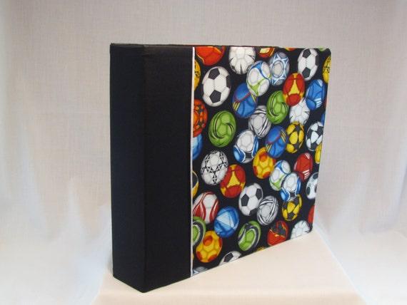 12x12 Postbound Fabric Scrapbook Photo Album Memory Book Handmade Soccer Goalie Sports High School Football Futball AO5 Album Outfitters