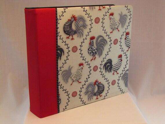 12x12 Postbound Fabric Scrapbook Photo Album Memory Book Handmade Rooster Chicken Farm Cockerel Hen Wire Comb  AO28 Album Outfitters