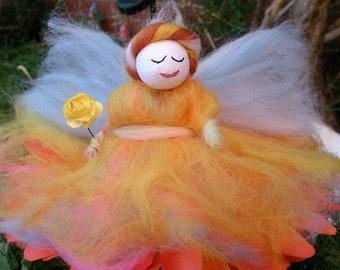 Wool Felt Fairy. Morning Glory (Lammas). Soft, merino wool fairy