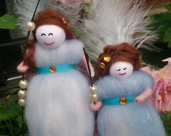 Wool Felt Fairies.  Ariella and Elodie. Handmade wool felt fairies