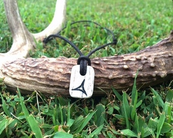 "Custom Engraved Deer Antler Leather Necklace ""Antler Jewelry"""