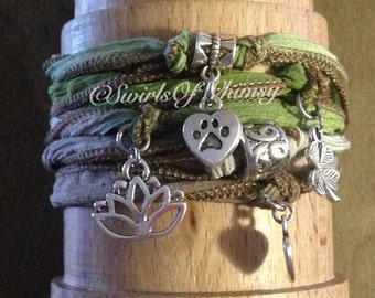 CUSTOMIZABLE Silk Wrap Bracelet-Yoga Wrap Bracelet with charms and magnet clasp-you chose ribbon and charms