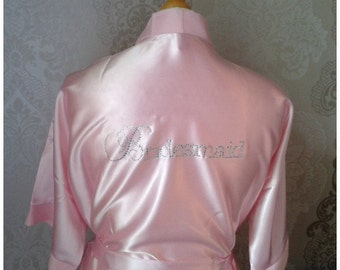 Bling Satin Plus Size Baby Pink Bridal Party Robe - Rhinestone Bridal Robe - Satin Robe - Bride, Bridesmaid, Diamantes