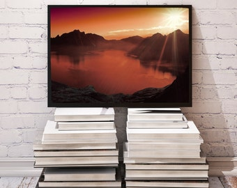 Sunset poster Mountain decor Nature print