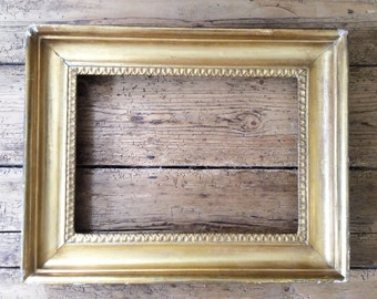 C19th Gesso Picture Frame, Antique Picture Frame, Wood and Gilded Gesso Picture Frame, Antique Mirror Frame