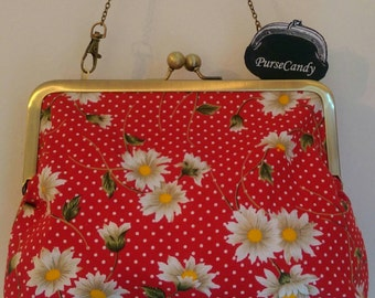 DAISY DREAM - Red polka dot and daisy clutch bag