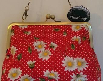 DAISY DREAM - Red polka dot and daisy clutch bag
