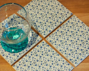 Ceramic coasters - chic blue flower tile coasters – set of 4