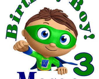 Superwhy Super Why Personalized Birthday Party T Shirt Tee Boys Girls 1st 2 3 4 5 6 7 8 9